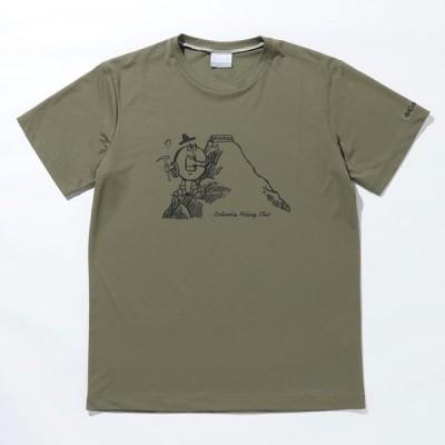 アウトドアシャツ コロンビア 21春夏 ライト キャニオン オムニフリーズ ゼロ ショートスリーブ Tシャツ メンズ L 397(Stone Green×C Graphic