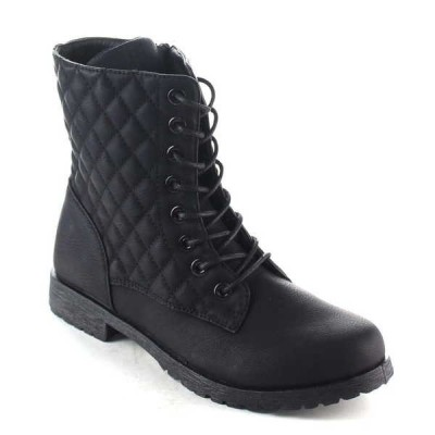 ブーツ シューズ 靴 海外厳選ブランド Bonnibel レディース Lace Up Lug Sole ジッパー ミドル丈 Quilted Combat ブーツ BRUNO-1 BLACK