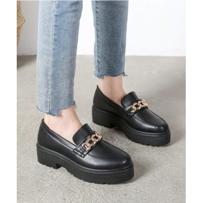 Shoes in Closet -シュークロ- / 厚底 チェーンモチーフ 超軽量 ローファー《約4.5cmヒール》1981 WOMEN シューズ > ローファー