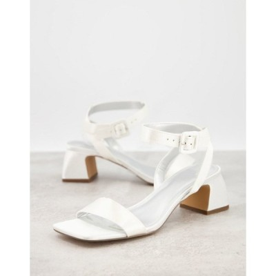 エイソス レディース サンダル シューズ ASOS DESIGN Hope block heeled sandals in ivory Ivory satin