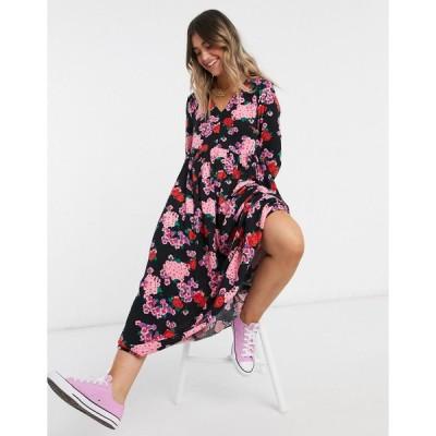 ノーバディーズチャイルド マキシドレス レディース Nobody's Child 70s maxi dress in flower print エイソス ASOS ブラック 黒