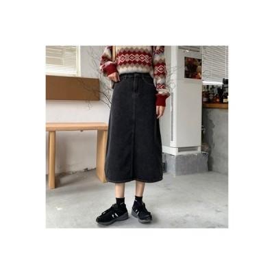 【送料無料】黒デニム スカート 秋冬 と セーターの女性 レトロ ハイウエス | 364331_A64222-5670757