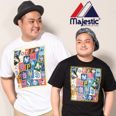 半袖 Tシャツ 大きいサイズ メンズ ロゴステッカープリント クルーネック スポーツ ホワイト/ブラック Majestic Athletic