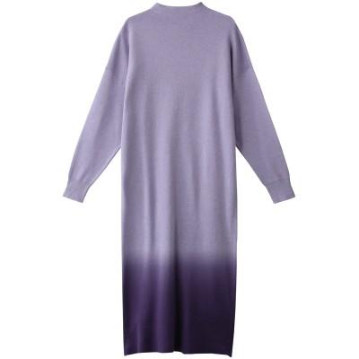 three dots スリードッツ Dip dye sweater dress/ロングワンピース レディース ラベンダー/パープル XS