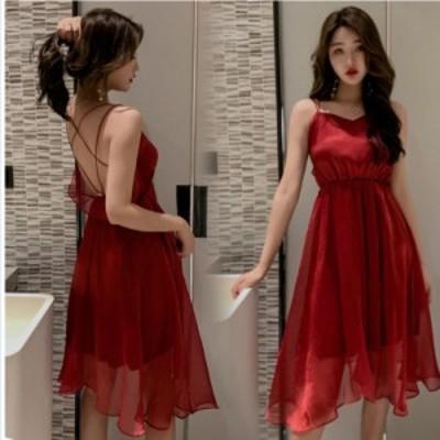 韓国 ファッション レディース リゾートワンピース ワンピース リゾート 韓国 ファッション 夏 春 カジュアル クロスデザイン バックコン