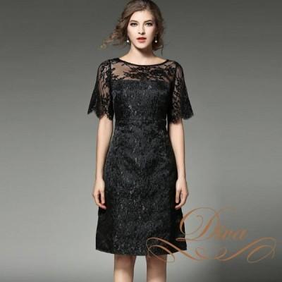 パーティードレス 袖付き 大きいサイズ 30代 結婚式 20代 総レース 半袖 ブラック ワンピース