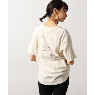 (OZOC/オゾック)【洗える】手描き風コットンロゴTシャツ/レディース ライトベージュ(051)