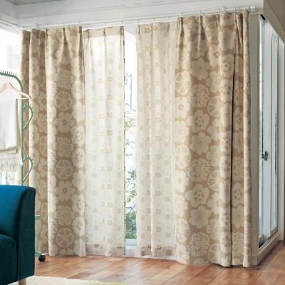 【58サイズ】北欧調デザインのプリント遮光カーテン
