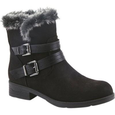 フレクサス ブーツ&レインブーツ シューズ レディース Clementina Ankle Bootie (Women's) Black Microsuede/Faux Fur