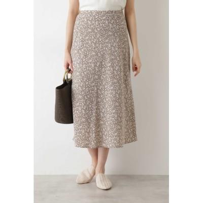 [洗える]フラワープリントマーメイドスカート