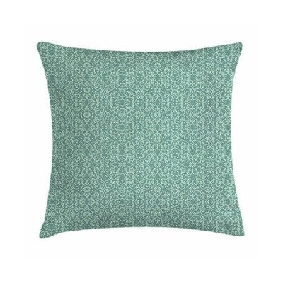 Ambesonne Green Throw Pillow Cushion Cover, Vintage Style Victorian Garden Pattern Antique Design Old Fashion Ornaments, Decorative Square Accent Pill