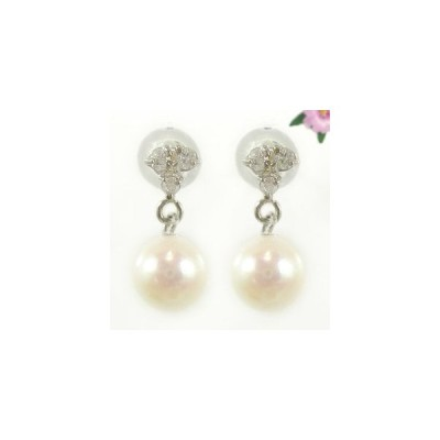 ピアス 18金 パール 真珠 フォーマル パーティー 結婚式 ダイヤ あこや本真珠 ダイヤモンド ホワイトゴールドk18 スタッド 天然石 レディース 宝石 18k
