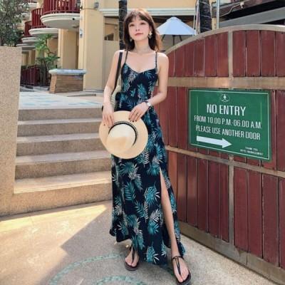 春夏 ドレス ロングドレス サマードレス ビーチワンピース ワンピース 花柄 ノースリーブ マキシ丈
