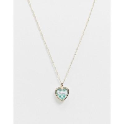 エイソス レディース ネックレス・チョーカー アクセサリー ASOS DESIGN necklace with gingham honey print pendant in gold tone