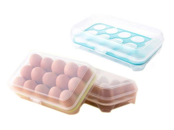 防碰撞15格雞蛋保鮮盒(1入)【D021259】顏色隨機出貨