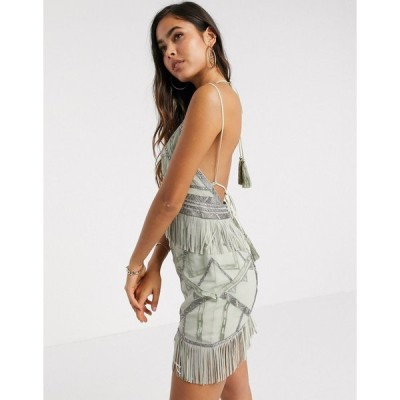 エイソス ミニドレス レディース ASOS DESIGN stud and fringe detail mini dress with metalic embroidery エイソス ASOS カーキ