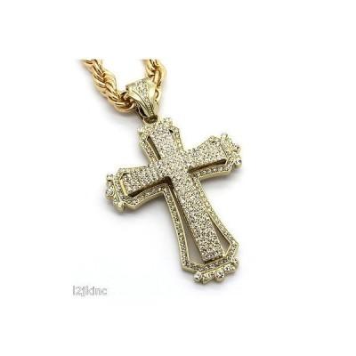 チェーン ネックレス アメリカン ジュエリー ヒップホップ Mens Large Hollow Cross Gold Iced Out Pendant 30 Inch Necklace Rope Chain G09