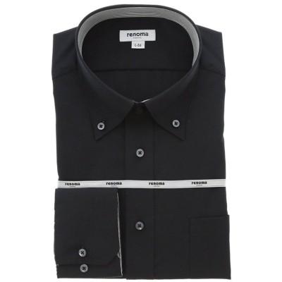 【タカキュー】 形態安定吸水速乾レギュラーフィット ドゥエボタンダウン長袖ビジネスドレスシャツ/ワイシャツ メンズ ブラック L:41-82 TAKA-Q