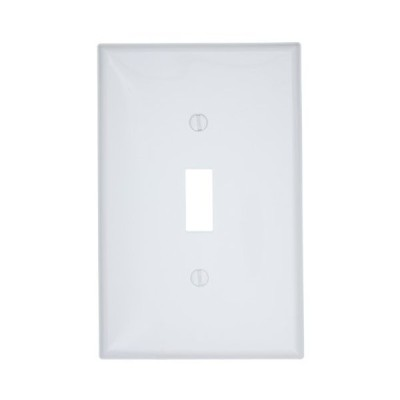 Leviton PJ1-W 1-Gang Toggle Switch Wallplate, Midway Size, White【並行輸入品】