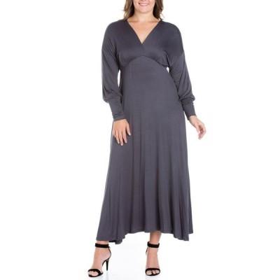 24セブンコンフォート レディース ワンピース トップス Women's Plus Size Bishop Sleeves Maxi Dress