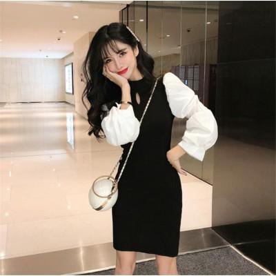 ✨毎年人気のクラシックタイプ🌈韓国ファッション ドレス 早春 長袖 パフスリーブ セクシー ラウンドネック スリムフィット 気質 ニットワンピース お出かけ ハイウエスト 縫付