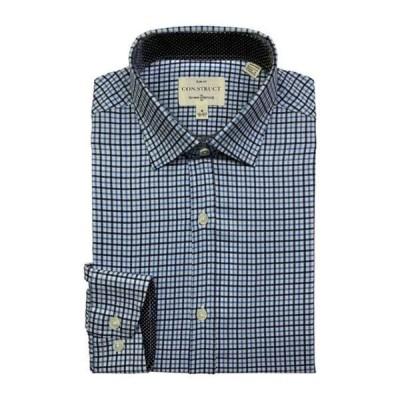 コンストラクト メンズ シャツ トップス 4-Way Stretch Slim Fit Small Check Dress Shirt BLUE