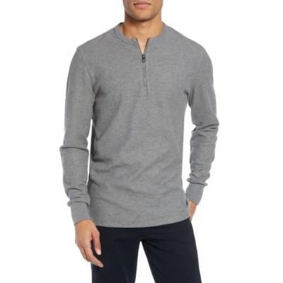 ヒューゴ ボス BOSS メンズ Tシャツ ハーフジップ トップス Textor Regular Fit Quarter Zip Thermal T-Shirt Grey