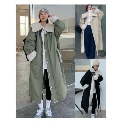 全3色 ロングコート 厚手 裏ボア付き 切り替え 体型カバー 着痩せ 毛襟 シンプル