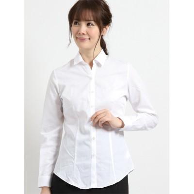 (TAKA-Q/タカキュー)形態安定レギュラーカラースキッパー長袖ツイルシャツ/レディース ホワイト