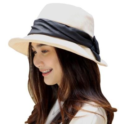 ハット レディース ヘムカット つば広 リボン付き UV 髪を結んだまま被れる 紫外線対策 折りたたみ可 軽量 サイズ調整 速乾性 通気性