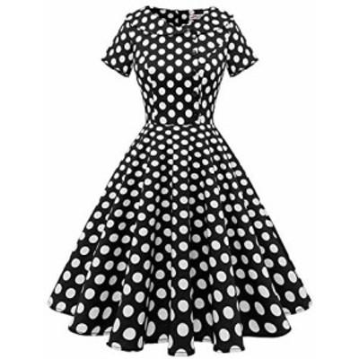 ALAGIRLS レディーズ ヴィンテージスタイル 50年代スイングワンピース 可愛いボタン 膝丈 短袖 襟付き パーティー 結婚式 お呼ばれ レト