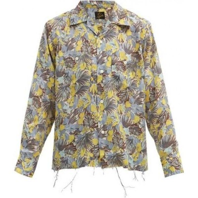 ニードルズ Needles メンズ シャツ トップス Cuban-Collar Floral-Print Crepe Shirt Yellow