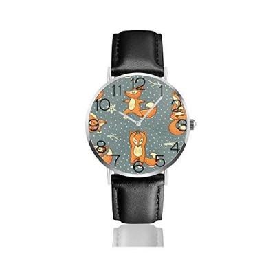 腕時計 ビンテージクリスマスレッドリトルフォックスグレー ウオッチ クラシック カジュアル 防水 クォーツム