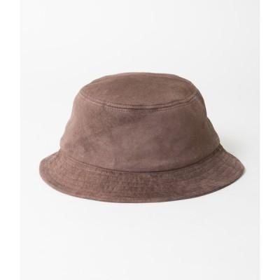 "RIDGEWOOD CAPS ""LEATHER BUCKET HAT""(BROWN)"