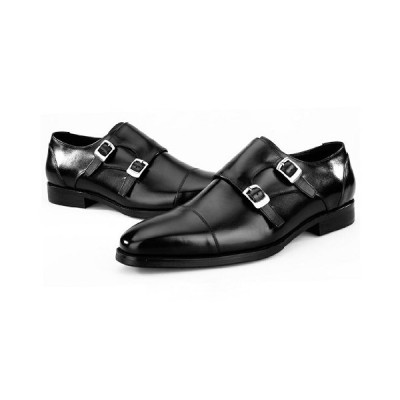 ビジネスシューズ メンズ 本革 モンクストラップ ロングノーズ 木型ソール プレーントゥ ストレートチップ 紳士靴 おしゃれ ブラック ブルー
