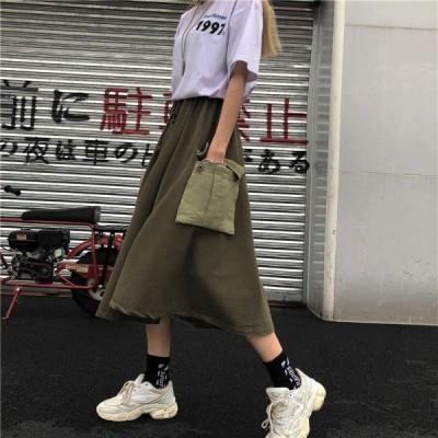 スカート マキシ丈 ウエスト紐調整 ポケット カーキ グレー レディース ファッション