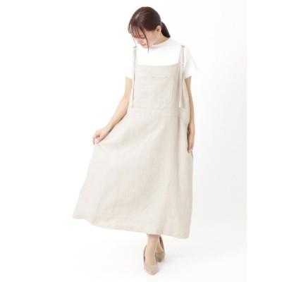 【大きいサイズ】リネンデニムジャンパースカート 大きいサイズ ワンピース レディース