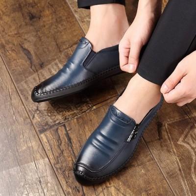 ビジネスシューズ メンズ 合成革靴 ローファー レースアップ  スリッポン  2タイプ Uチップ 紳士 疲れにくい  おしゃれ 秋冬
