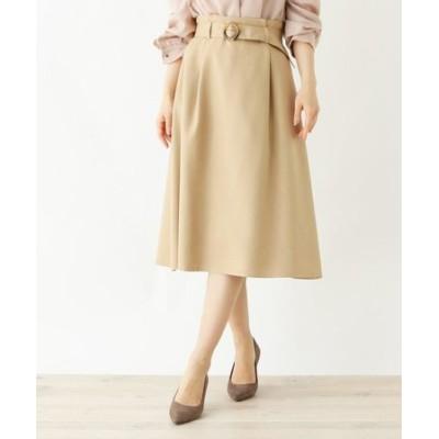 【大きいサイズあり・13号・15号】innowave リネン風フレアスカート
