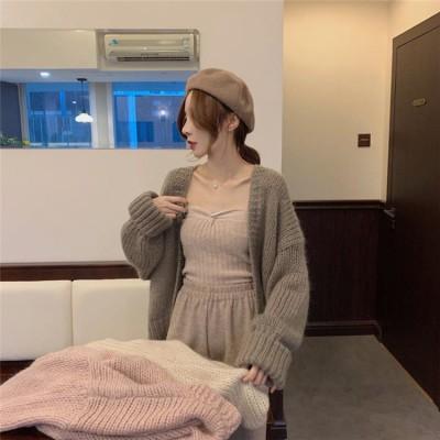 気質 ファッション 春秋 女性服  短いスタイル ゆったりする 新作 ニット カーディガン 怠惰な風  おしゃれな