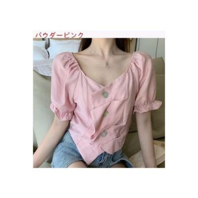 【送料無料】夏 レトロ 不規則な デザイン 感 シャツ 女 着やせ 何でも似 | 364331_A62740-7427416