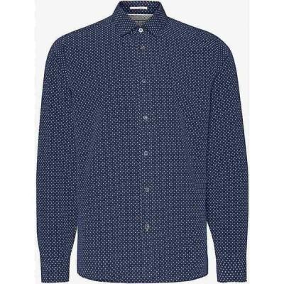 テッドベーカー TED BAKER メンズ シャツ トップス Geometric-print slim-fit modal-blend shirt NAVY