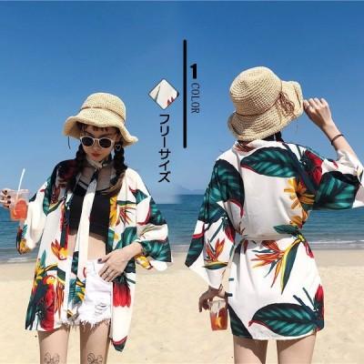 UVカーディガン レディース 7分袖 プリント リーフ柄 ハワイ風 紫外線対策 透け感 冷房対策 ビーチ 2020夏 海 気質 体型カバー カジュアル リラックス 普通着