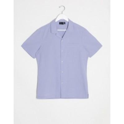 エイソス メンズ シャツ トップス ASOS DESIGN regular fit shirt with revere collar in lilac seersucker Lilac