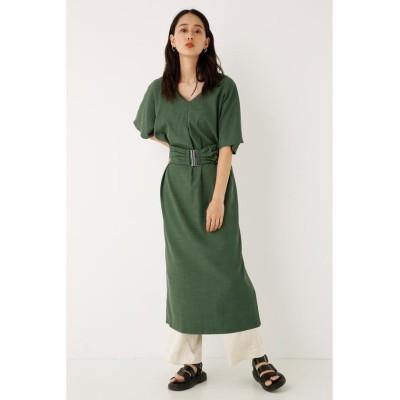 【シェルターセレクト】 ベルテッド2WAYワンピース(Belted 2Way Dress)/ドレス レディース グリーン FREE SHEL'TTER SELECT