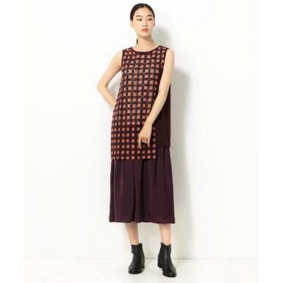 Gabardine K.T/ギャバジンK.T 石畳文様刺繍 セパレート ドレス オレンジ×ブラウン 11号