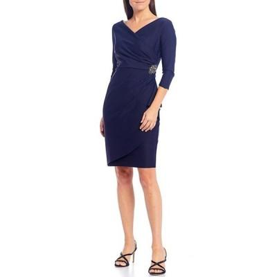 アレックスイブニングス レディース ワンピース トップス 3/4 Sleeve Ruffle Beaded Hip Detail Scuba Compression Sheath Dress