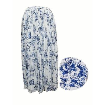 プリーツスカート 春夏 9号 白×ブルー アクアスキュータム AQUAS 英国 レディースファッション ミセス 送料無料