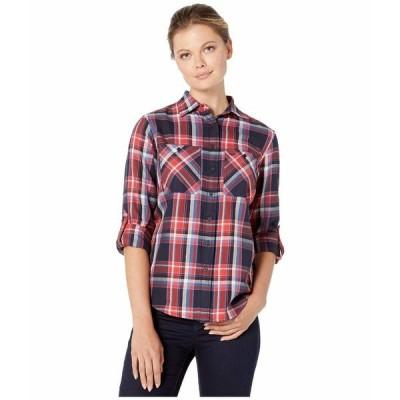 ラルフローレン シャツ トップス レディース Plaid Cotton Twill Roll-Tab Shirt Lauren Navy Multi