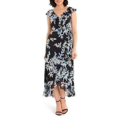 ロンドンタイムス レディース ワンピース トップス Petite Size Floral Print Chiffon Faux Wrap Flounce Hem Midi Dress